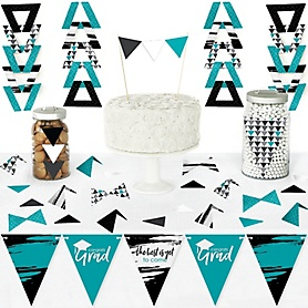 Teal Grad - Best is Yet to Come - DIY Pennant Banner Decorations - Turquoise Graduation Party Triangle Kit - 99 Pieces