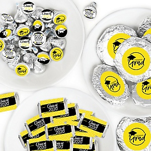 Yellow Grad - Best is Yet to Come - Mini Candy Bar Wrappers, Round Candy Stickers and Circle Stickers - 2020 Yellow Graduation Party Candy Favor Sticker Kit - 304 Pieces