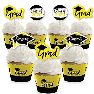 Yellow Grad - Best is Yet to Come - Cupcake Decoration - 2020 Yellow Graduation Party Cupcake Wrappers and Treat Picks Kit - Set of 24