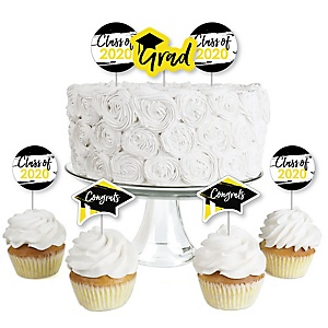 Yellow Grad - Best is Yet to Come - Dessert Cupcake Toppers - Yellow 2020 Graduation Party Clear Treat Picks - Set of 24