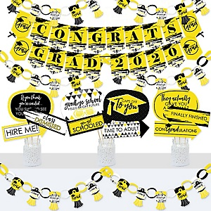 Yellow Grad - Best is Yet to Come - Banner and Photo Booth Decorations - 2020 Yellow Graduation Party Supplies Kit - Doterrific Bundle