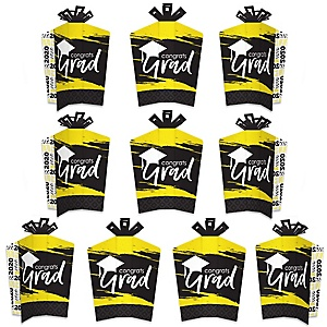 Yellow Grad - Best is Yet to Come - Table Decorations - 2020 Yellow Graduation Party Fold and Flare Centerpieces - 10 Count