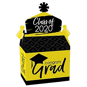 Yellow Grad - Best is Yet to Come - Treat Box Party Favors - 2020 Yellow Graduation Party Goodie Gable Boxes - Set of 12