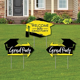 Yellow Grad - Best is Yet to Come - 2 Yellow Graduation Party Arrows and 1 Welcome / Thank You Lawn Sign - Double Sided Grad Yard Sign Set - 3 Pieces