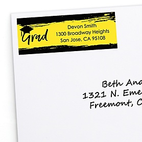 Yellow Grad - Best is Yet to Come - Personalized Graduation Return Address Labels - 30 ct