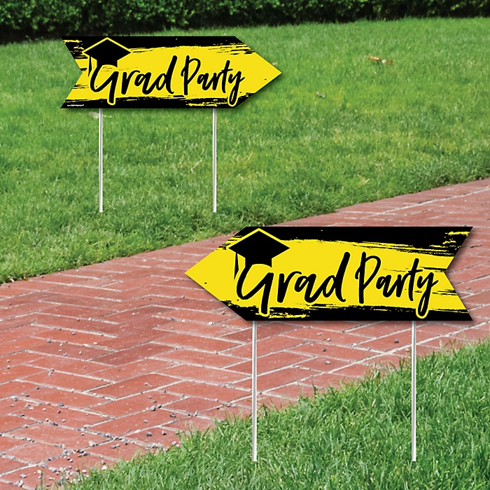 Yellow Grad - Best is Yet to Come - Graduation Party Sign Arrow - Double Sided Directional Yard Signs - Set of 2