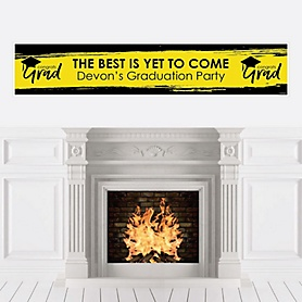 Yellow Grad - Best is Yet to Come - Personalized Yellow Graduation Party Banner