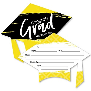 Yellow Grad - Best is Yet to Come - Shaped Fill-In Invitations - Graduation Party Invitation Cards with Envelopes - Set of 12