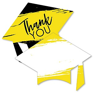 Yellow Grad - Best is Yet to Come - Shaped Thank You Cards - Yellow Graduation Party Thank You Note Cards with Envelopes - Set of 12
