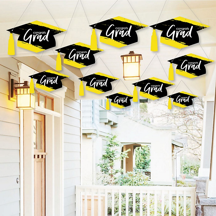 Hanging Yellow Grad - Best is Yet to Come - Outdoor Graduation Party Hanging Porch & Tree Yard Decorations - 10 Pieces