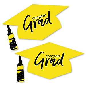 Yellow Grad - Best is Yet to Come - Graduation Hat Decorations DIY Large Yellow Graduation Party Essentials - 20 Count