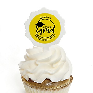 Yellow Grad - Best is Yet to Come - Personalized Graduation Cupcake Pick and Sticker Kit - 12 ct