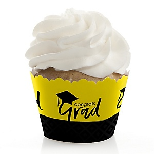 Yellow Grad - Best is Yet to Come - Graduation Decorations - Party Cupcake Wrappers - Set of 12