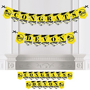 Yellow Grad - Best is Yet to Come - Personalized 2019 Graduation Party Bunting Banner & Decorations