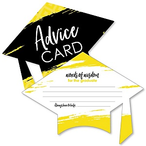 Yellow Grad - Best is Yet to Come - Yellow Grad Cap Wish Card Graduation Party Activities - Shaped Advice Cards Games - Set of 20