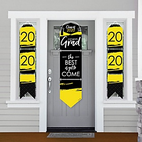 Yellow Grad - Best is Yet to Come - Hanging Porch Front Door Signs - 2020 Yellow Graduation Party Banner Decoration Kit - Outdoor Door Decor