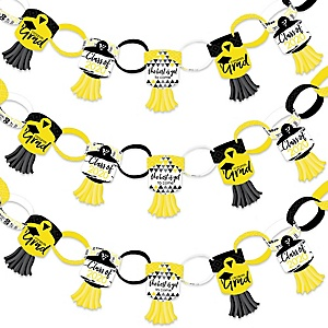 Yellow Grad - Best is Yet to Come - 90 Chain Links and 30 Paper Tassels Decoration Kit - 2020 Yellow Graduation Party Paper Chains Garland - 21 feet