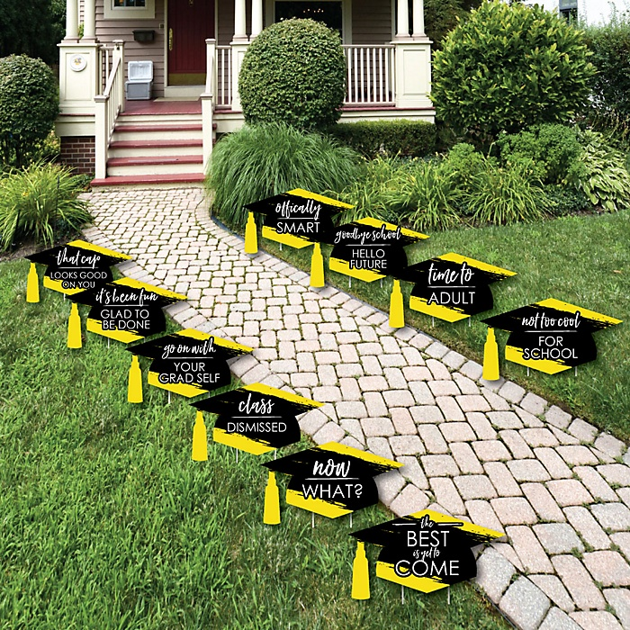 Yellow Grad - Best is Yet to Come - Grad Cap Lawn Decorations - Outdoor Yellow Graduation Party Yard Decorations - 10 Piece
