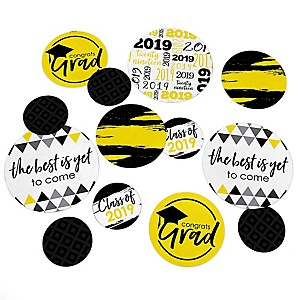 Yellow Grad - Best is Yet to Come - 2019 Graduation Party Giant Circle Confetti - Yellow Grad Party Decorations - Large Confetti 27 Count