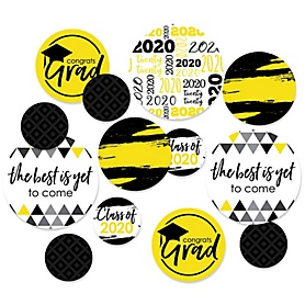 Yellow Grad - Best is Yet to Come - 2020 Graduation Party Giant Circle Confetti - Yellow Grad Party Decorations - Large Confetti 27 Count