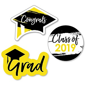 Yellow Grad - Best is Yet to Come - DIY Shaped 2019 Graduation Party Paper Cut-Outs - 24 ct
