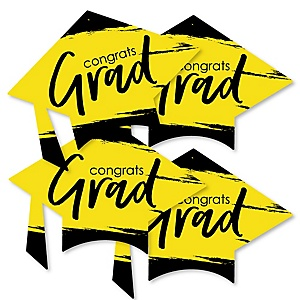 Yellow Grad - Best is Yet to Come - Grad Cap Decorations DIY Yellow Graduation Party Essentials - Set of 20
