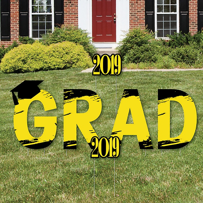 GRAD - Yellow Grad - Best is Yet to Come - Yard Sign Outdoor Lawn Decorations - Yellow 2019 Graduation Party Yard Signs