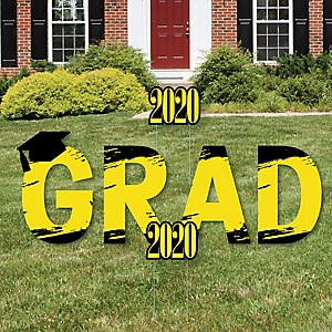 GRAD - Yellow Grad - Best is Yet to Come - Yard Sign Outdoor Lawn Decorations - Yellow 2020 Graduation Party Yard Signs