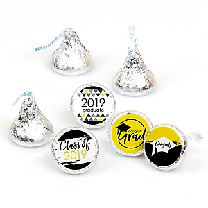 Yellow Grad - Best is Yet to Come - Round Candy Labels 2019 Graduation Party Favors - Fits Hershey's Kisses 108 ct
