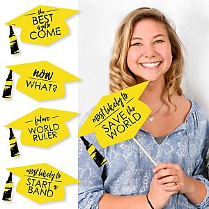 Hilarious Yellow Grad - Best is Yet to Come - 20 Piece Yellow Graduation Party Photo Booth Props Kit