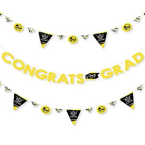 Yellow Grad - Best is Yet to Come - 2019 Yellow Graduation Party Letter Banner Decoration - 36 Banner Cutouts and Congrats Grad Banner Letters