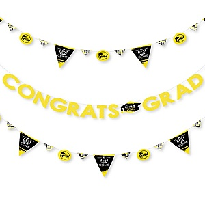 Yellow Grad - Best is Yet to Come - 2020 Yellow Graduation Party Letter Banner Decoration - 36 Banner Cutouts and Congrats Grad Banner Letters