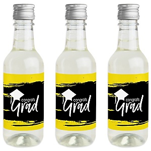 Yellow Grad - Best is Yet to Come - Mini Wine and Champagne Bottle Label Stickers - Yellow Graduation Party Favor Gift - Set of 16