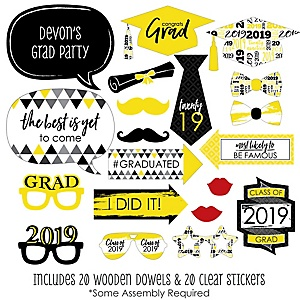 Yellow Grad - Best is Yet to Come - 20 Piece 2019 Graduation Party Photo Booth Props Kit