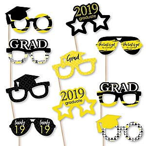 Yellow Grad Glasses - Best is Yet to Come - Yellow 2019 Paper Card Stock Graduation Party Photo Booth Props Kit - 10 Count