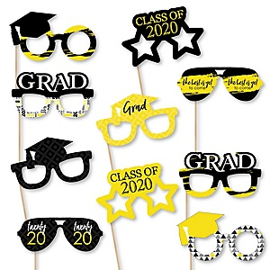 Yellow Grad Glasses - Best is Yet to Come - Yellow 2020 Paper Card Stock Graduation Party Photo Booth Props Kit - 10 Count