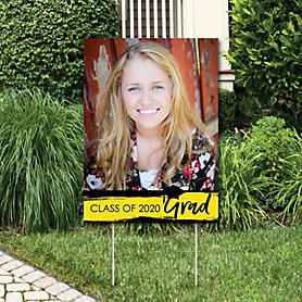 Yellow Grad - Best is Yet to Come - Photo Yard Sign - Yellow 2020 Graduation Party Decorations