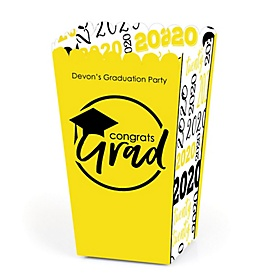 Yellow Grad - Best is Yet to Come - Personalized 2020 Graduation Popcorn Favor Treat Boxes - Set of 12