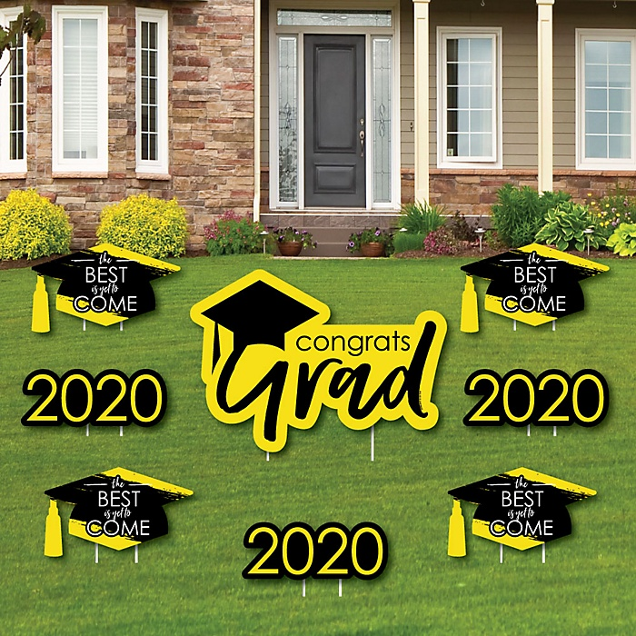 Yellow Grad - Best is Yet to Come - Yard Sign & Outdoor Lawn Decorations – 2020 Graduation Party Yard Signs - Set of 8