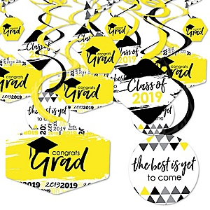 Yellow Grad - Best is Yet to Come - 2019 Yellow Graduation Party Hanging Decor - Party Decoration Swirls - Set of 40