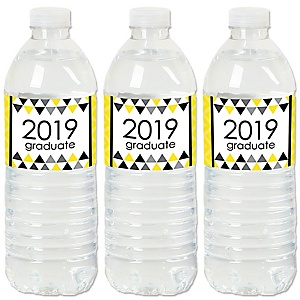 Yellow Grad - Best is Yet to Come - 2019 Yellow Graduation Party Water Bottle Sticker Labels - Set of 20
