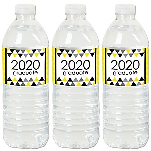 Yellow Grad - Best is Yet to Come - 2020 Yellow Graduation Party Water Bottle Sticker Labels - Set of 20