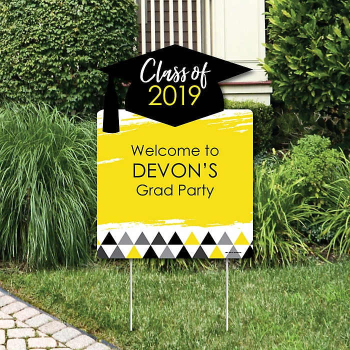 Yellow Grad - Best is Yet to Come - Party Decorations - 2019 Graduation Party Personalized Welcome Yard Sign