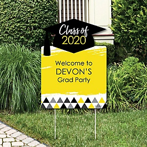 Yellow Grad - Best is Yet to Come - Party Decorations - 2020 Graduation Party Personalized Welcome Yard Sign