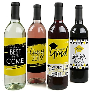 Yellow Grad - Best is Yet to Come - 2019 Graduation Decorations for Women and Men - Wine Bottle Label Stickers - Set of 4