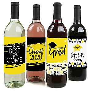 Yellow Grad - Best is Yet to Come - 2020 Graduation Decorations for Women and Men - Wine Bottle Label Stickers - Set of 4