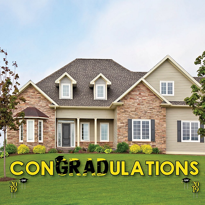 conGRADulations - Yellow Grad - Best is Yet to Come - Yard Sign Outdoor Lawn Decorations - Yellow 2019 Graduation Party Yard Signs