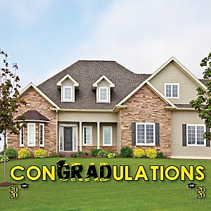 conGRADulations - Yellow Grad - Best is Yet to Come - Yard Sign Outdoor Lawn Decorations - Yellow 2020 Graduation Party Yard Signs