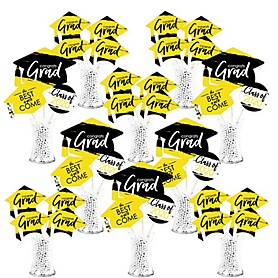 Yellow Grad - Best is Yet to Come - 2020 Yellow Graduation Party Centerpiece Sticks - Showstopper Table Toppers - 35 Pieces