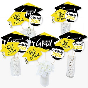 Yellow Grad - Best is Yet to Come - 2020 Yellow Graduation Party Centerpiece Sticks - Table Toppers - Set of 15